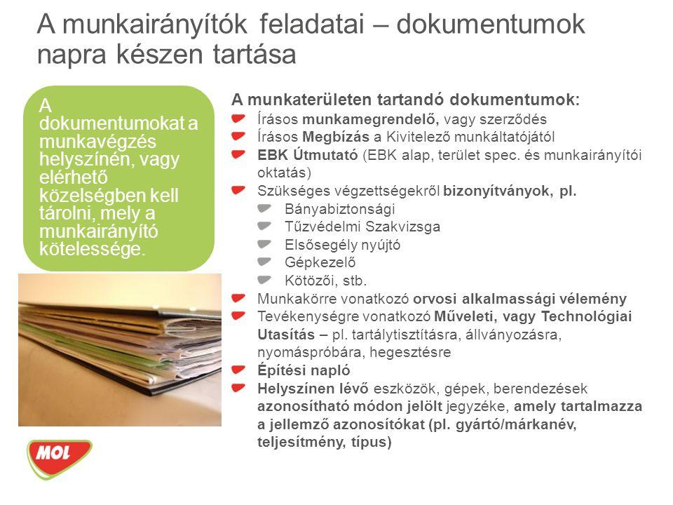 A munkaterületen tartandó dokumentumok: Írásos munkamegrendelő, vagy szerződés Írásos Megbízás a Kivitelező munkáltatójától EBK Útmutató (EBK alap, terület spec.