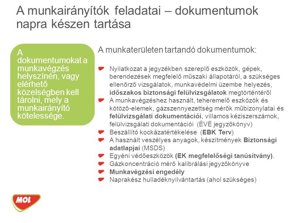 A munkaterületen tartandó dokumentumok: Nyilatkozat a jegyzékben szereplő eszközök, gépek, berendezések megfelelő műszaki állapotáról, a szükséges ellenőrző vizsgálatok, munkavédelmi üzembe helyezés, időszakos biztonsági felülvizsgálatok megtörténtéről A munkavégzéshez használt, teheremelő eszközök és kötöző-elemek, gázszennyezettség mérők műbizonylatai és felülvizsgálati dokumentációi, villamos kéziszerszámok, felülvizsgálati dokumentációi (ÉVÉ jegyzőkönyv) Beszállító kockázatértékelése (EBK Terv) A használt veszélyes anyagok, készítmények Biztonsági adatlapjai (MSDS) Egyéni védőeszközök (EK megfelelőségi tanúsítvány).