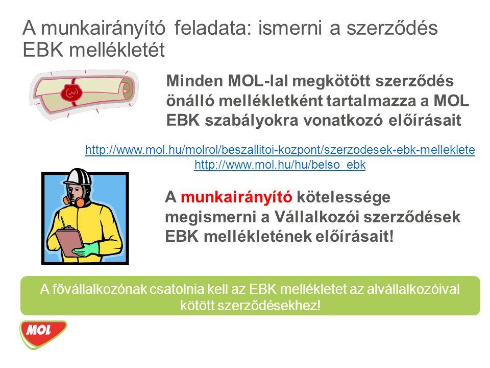 A munkairányító feladata: ismerni a szerződés EBK mellékletét Minden MOL-lal megkötött szerződés önálló mellékletként tartalmazza a MOL EBK szabályokra vonatkozó előírásait A munkairányító kötelessége megismerni a Vállalkozói szerződések EBK mellékletének előírásait.