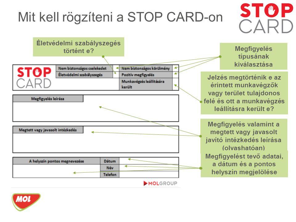 Mit kell rögzíteni a STOP CARD-on Megfigyelés típusának kiválasztása Életvédelmi szabályszegés történt e.