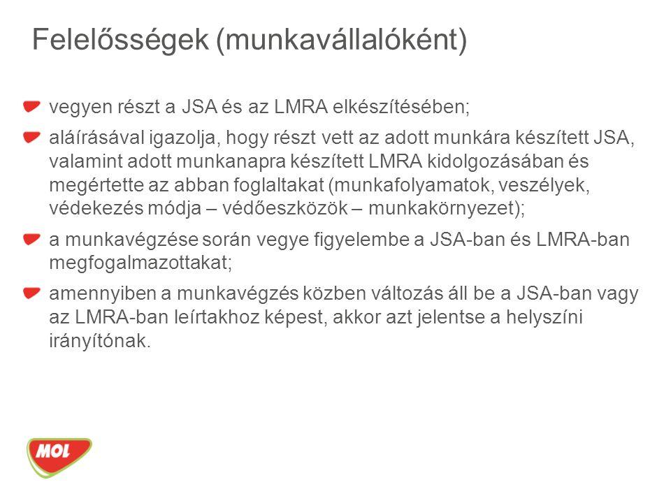 Felelősségek (munkavállalóként) vegyen részt a JSA és az LMRA elkészítésében; aláírásával igazolja, hogy részt vett az adott munkára készített JSA, valamint adott munkanapra készített LMRA kidolgozásában és megértette az abban foglaltakat (munkafolyamatok, veszélyek, védekezés módja – védőeszközök – munkakörnyezet); a munkavégzése során vegye figyelembe a JSA-ban és LMRA-ban megfogalmazottakat; amennyiben a munkavégzés közben változás áll be a JSA-ban vagy az LMRA-ban leírtakhoz képest, akkor azt jelentse a helyszíni irányítónak.