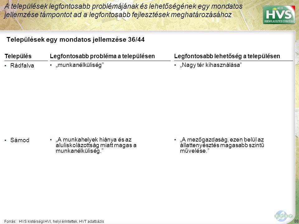 """88 Települések egy mondatos jellemzése 36/44 A települések legfontosabb problémájának és lehetőségének egy mondatos jellemzése támpontot ad a legfontosabb fejlesztések meghatározásához Forrás:HVS kistérségi HVI, helyi érintettek, HVT adatbázis TelepülésLegfontosabb probléma a településen ▪Rádfalva ▪""""munkanélküliség ▪Sámod ▪""""A munkahelyek hiánya és az aluliskolázottság miatt magas a munkanélküliség. Legfontosabb lehetőség a településen ▪""""Nagy tér kihasználása ▪""""A mezőgazdaság, ezen belül az állattenyésztés magasabb szintű művelése."""