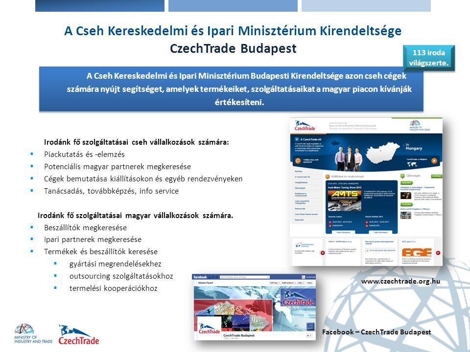 A Cseh Kereskedelmi és Ipari Minisztérium Kirendeltsége CzechTrade Budapest Irodánk fő szolgáltatásai cseh vállalkozások számára:  Piackutatás és -el