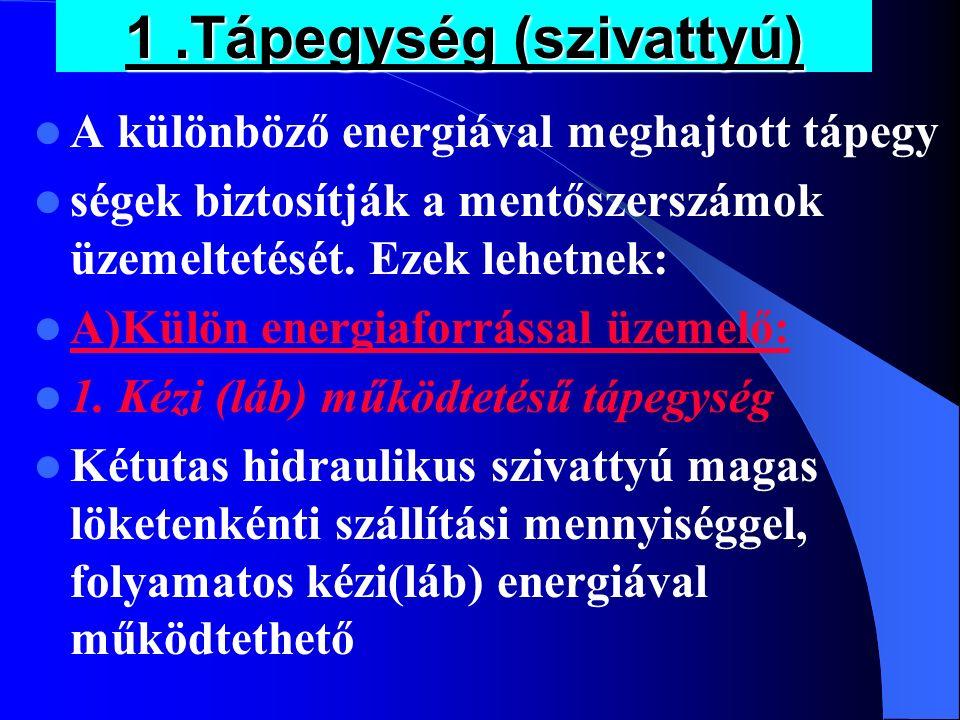 1.Tápegység (szivattyú) A különböző energiával meghajtott tápegy ségek biztosítják a mentőszerszámok üzemeltetését. Ezek lehetnek: A)Külön energiaforr