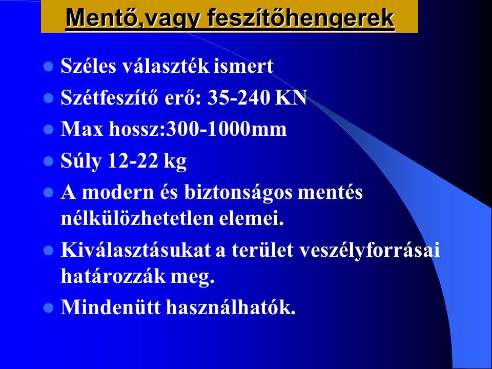 Mentő,vagy feszítőhengerek Széles választék ismert Szétfeszítő erő: 35-240 KN Max hossz:300-1000mm Súly 12-22 kg A modern és biztonságos mentés nélkül