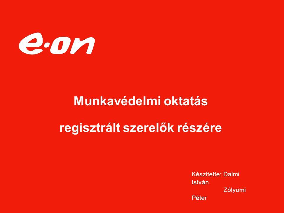 Munkavédelmi oktatás regisztrált szerelők részére Készítette: Dalmi István Zólyomi Péter