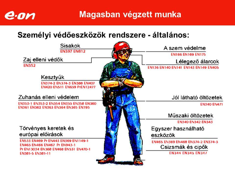 Személyi védőeszközök rendszere - általános: Magasban végzett munka