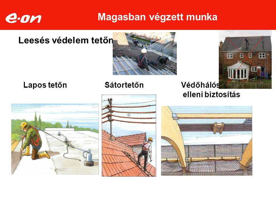 Leesés védelem tetőn: Lapos tetőn Sátortetőn Védőhálós leesés elleni biztosítás Magasban végzett munka