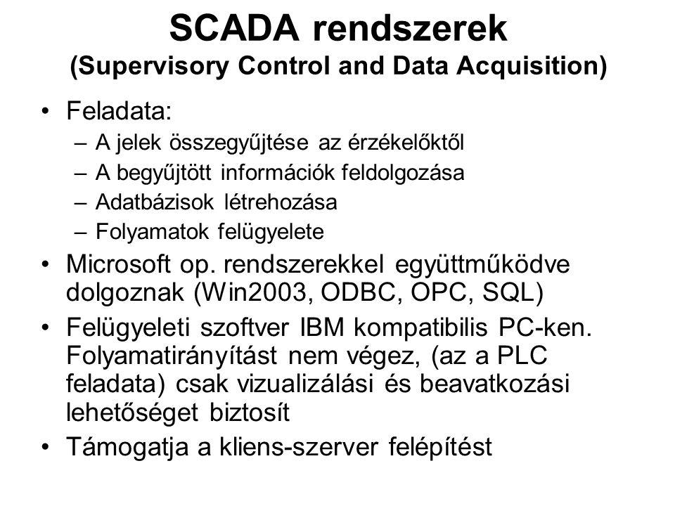 SCADA rendszerek (Supervisory Control and Data Acquisition) Feladata: –A jelek összegyűjtése az érzékelőktől –A begyűjtött információk feldolgozása –Adatbázisok létrehozása –Folyamatok felügyelete Microsoft op.
