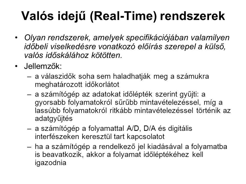 Valós idejű (Real-Time) rendszerek Olyan rendszerek, amelyek specifikációjában valamilyen időbeli viselkedésre vonatkozó előírás szerepel a külső, valós időskálához kötötten.
