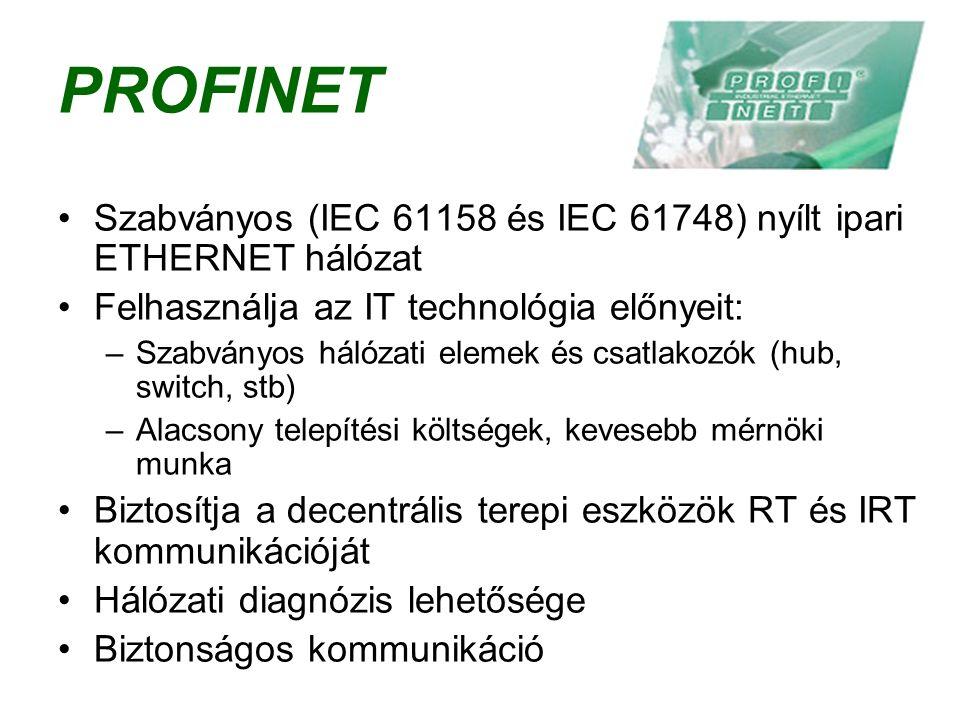 PROFINET Szabványos (IEC 61158 és IEC 61748) nyílt ipari ETHERNET hálózat Felhasználja az IT technológia előnyeit: –Szabványos hálózati elemek és csatlakozók (hub, switch, stb) –Alacsony telepítési költségek, kevesebb mérnöki munka Biztosítja a decentrális terepi eszközök RT és IRT kommunikációját Hálózati diagnózis lehetősége Biztonságos kommunikáció