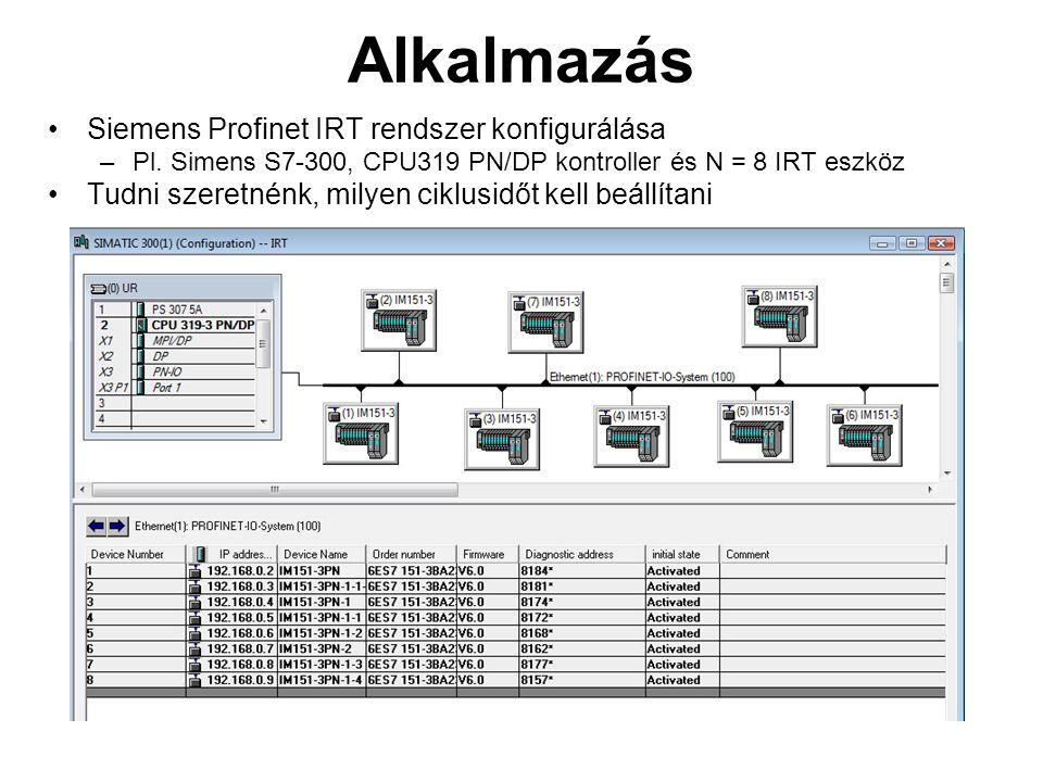 Alkalmazás Siemens Profinet IRT rendszer konfigurálása –Pl.