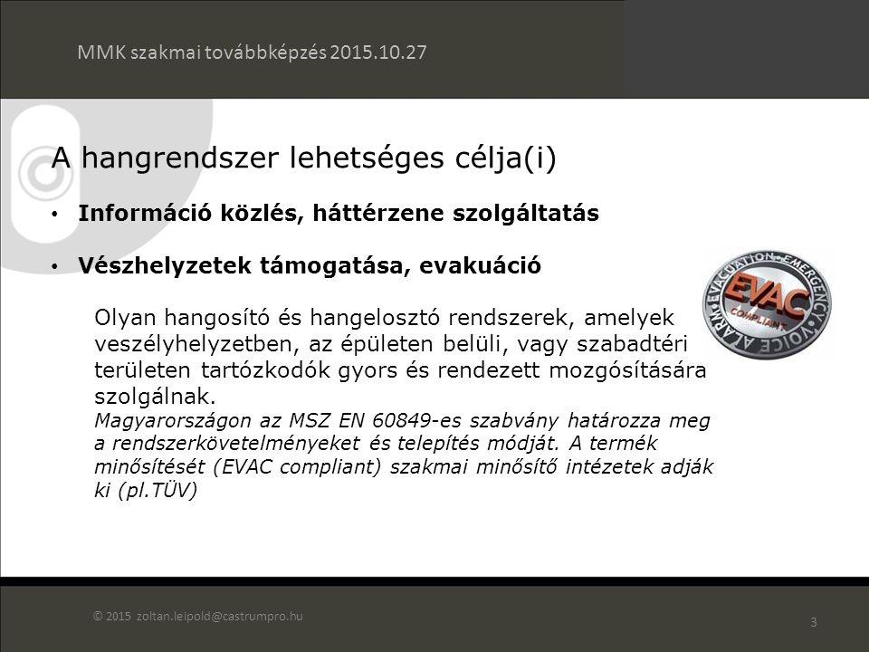 2 Az előadás tartalma Hangrendszerek céljai Jogszabályi, szabályozási háttér a tűzjelző és vészhangosítási (evakuációs) rendszerek kapcsolatában Vészhang rendszerekkel szemben támasztott követelmények Rendszeráttekintés Tűzjelző és a vészhangosítási hangrendszer kapcsolata Felhasználási területek MMK szakmai továbbképzés 2015.10.27 © 2015 zoltan.leipold@castrumpro.hu