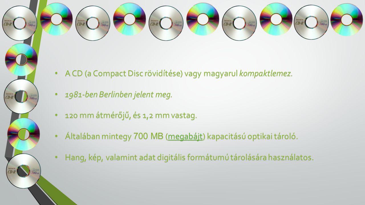 A CD (a Compact Disc rövidítése) vagy magyarul kompaktlemez.