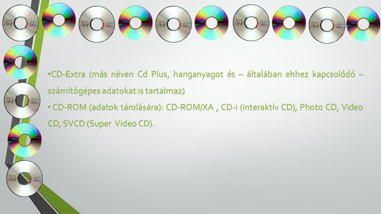 CD-Extra (más néven Cd Plus, hanganyagot és – általában ehhez kapcsolódó – számítógépes adatokat is tartalmaz) CD-Extra (más néven Cd Plus, hanganyagot és – általában ehhez kapcsolódó – számítógépes adatokat is tartalmaz) CD-ROM (adatok tárolására): CD-ROM/XA, CD-i (interaktív CD), Photo CD, Video CD, SVCD (Super Video CD).