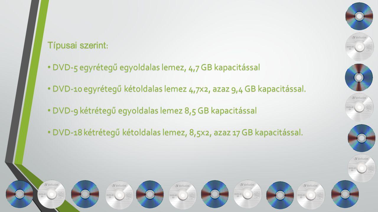 Típusai szerint : DVD-5 egyrétegű egyoldalas lemez, 4,7 GB kapacitással DVD-5 egyrétegű egyoldalas lemez, 4,7 GB kapacitással DVD-10 egyrétegű kétoldalas lemez 4,7x2, azaz 9,4 GB kapacitással.