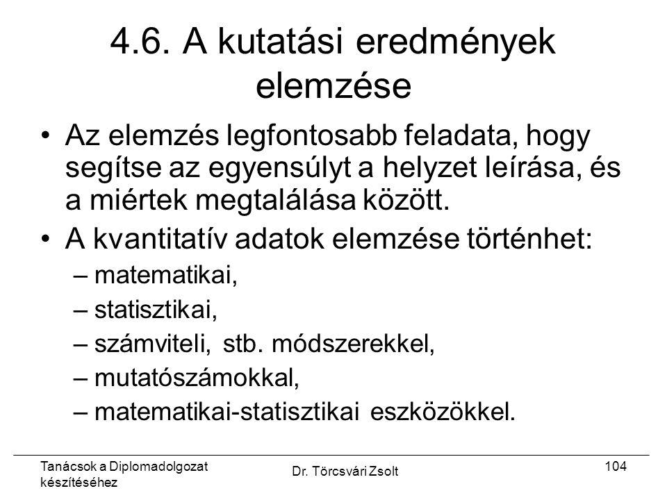 Tanácsok a Diplomadolgozat készítéséhez Dr. Törcsvári Zsolt 104 4.6.