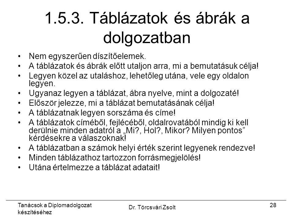 Tanácsok a Diplomadolgozat készítéséhez Dr. Törcsvári Zsolt 28 1.5.3.