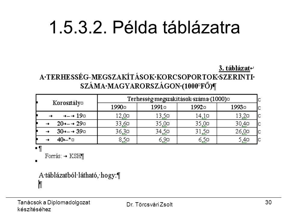 Tanácsok a Diplomadolgozat készítéséhez Dr. Törcsvári Zsolt 30 1.5.3.2. Példa táblázatra
