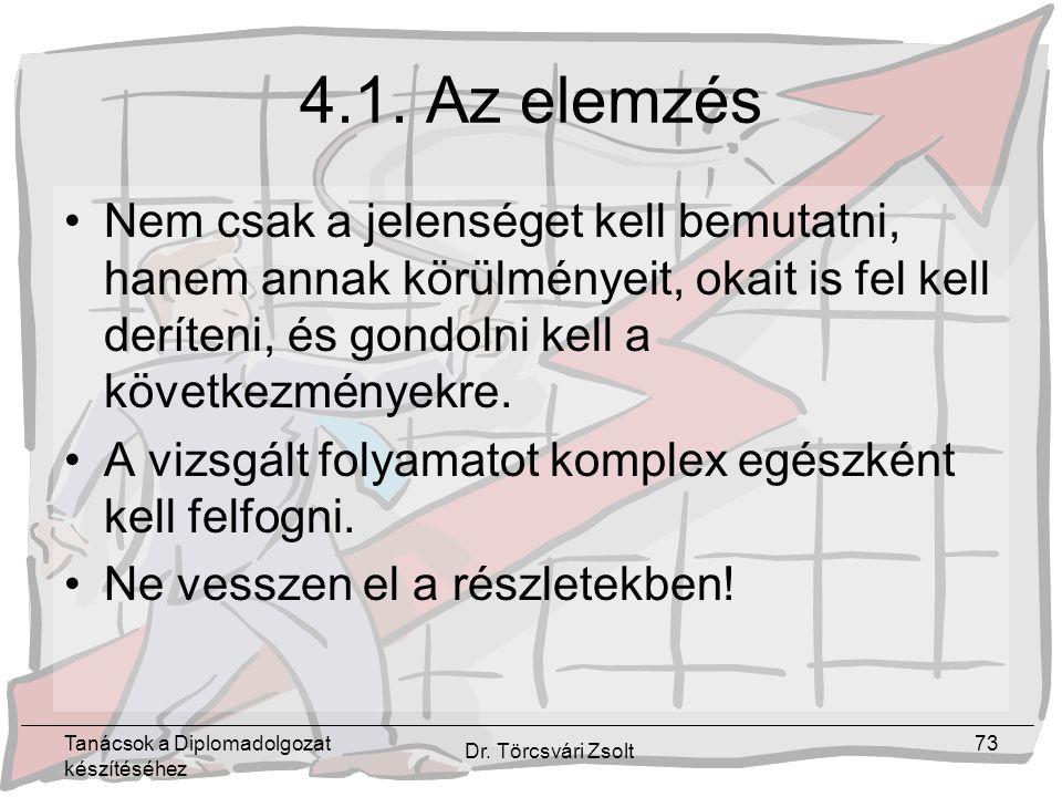 Tanácsok a Diplomadolgozat készítéséhez Dr. Törcsvári Zsolt 73 4.1.
