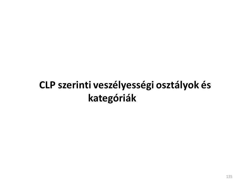 CLP szerinti veszélyességi osztályok és kategóriák 135
