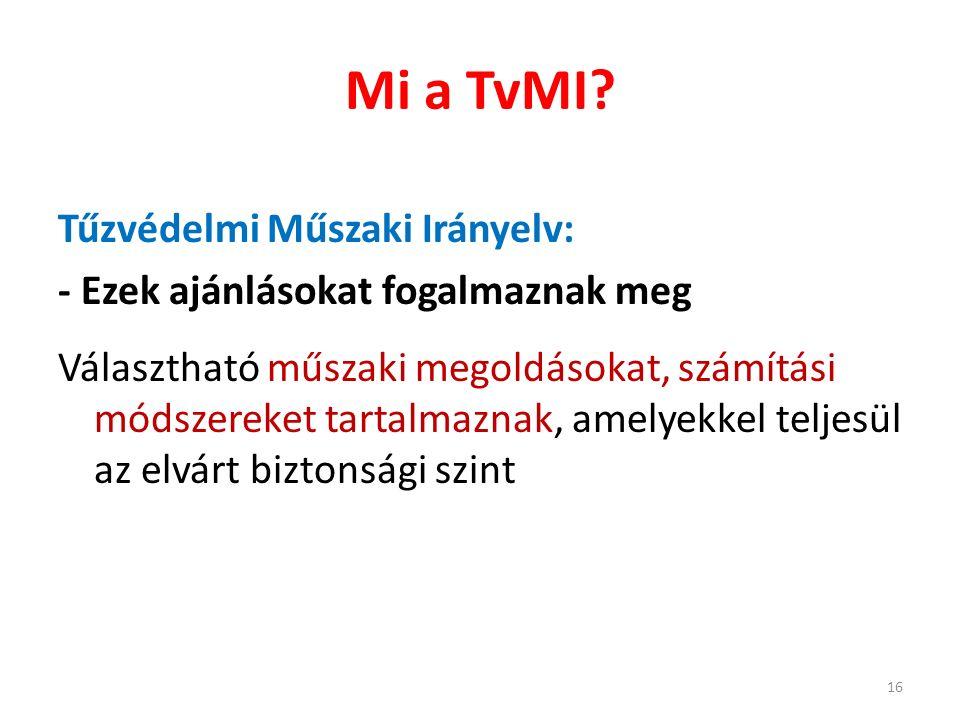 Mi a TvMI? Tűzvédelmi Műszaki Irányelv: - Ezek ajánlásokat fogalmaznak meg Választható műszaki megoldásokat, számítási módszereket tartalmaznak, amely