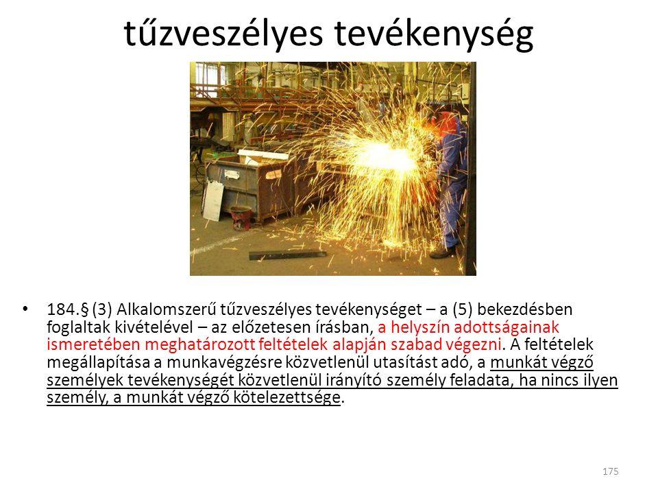 184.§ (3) Alkalomszerű tűzveszélyes tevékenységet – a (5) bekezdésben foglaltak kivételével – az előzetesen írásban, a helyszín adottságainak ismereté