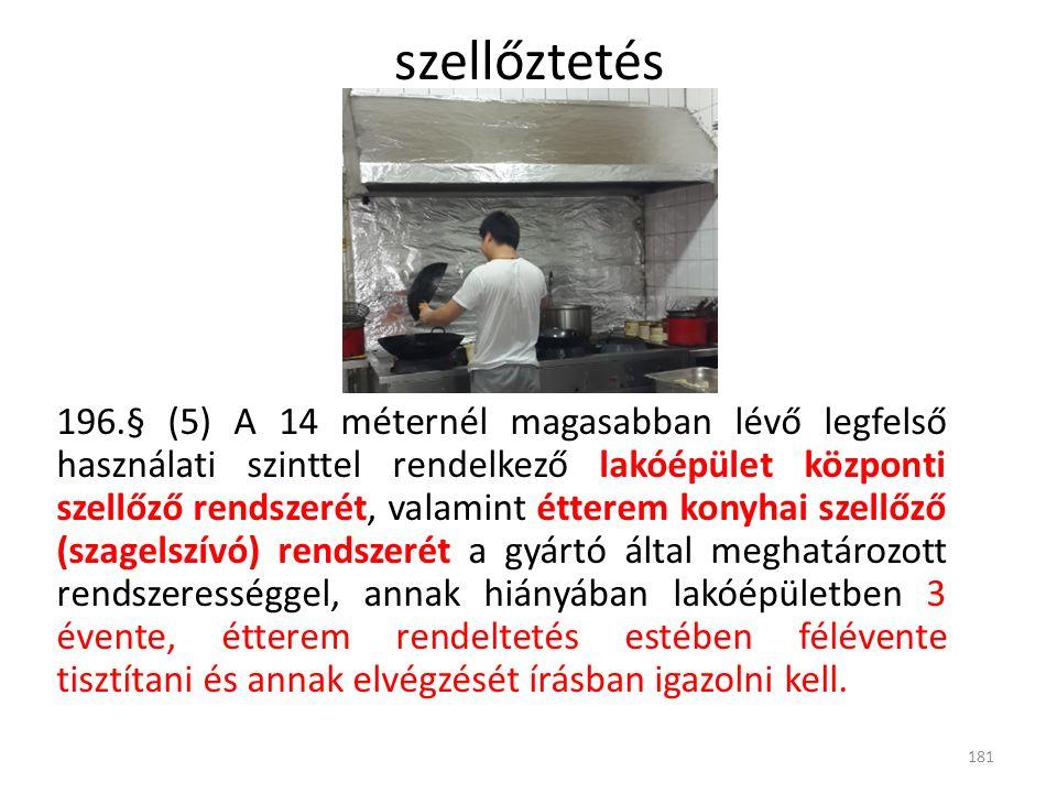 196.§ (5) A 14 méternél magasabban lévő legfelső használati szinttel rendelkező lakóépület központi szellőző rendszerét, valamint étterem konyhai szellőző (szagelszívó) rendszerét a gyártó által meghatározott rendszerességgel, annak hiányában lakóépületben 3 évente, étterem rendeltetés estében félévente tisztítani és annak elvégzését írásban igazolni kell.