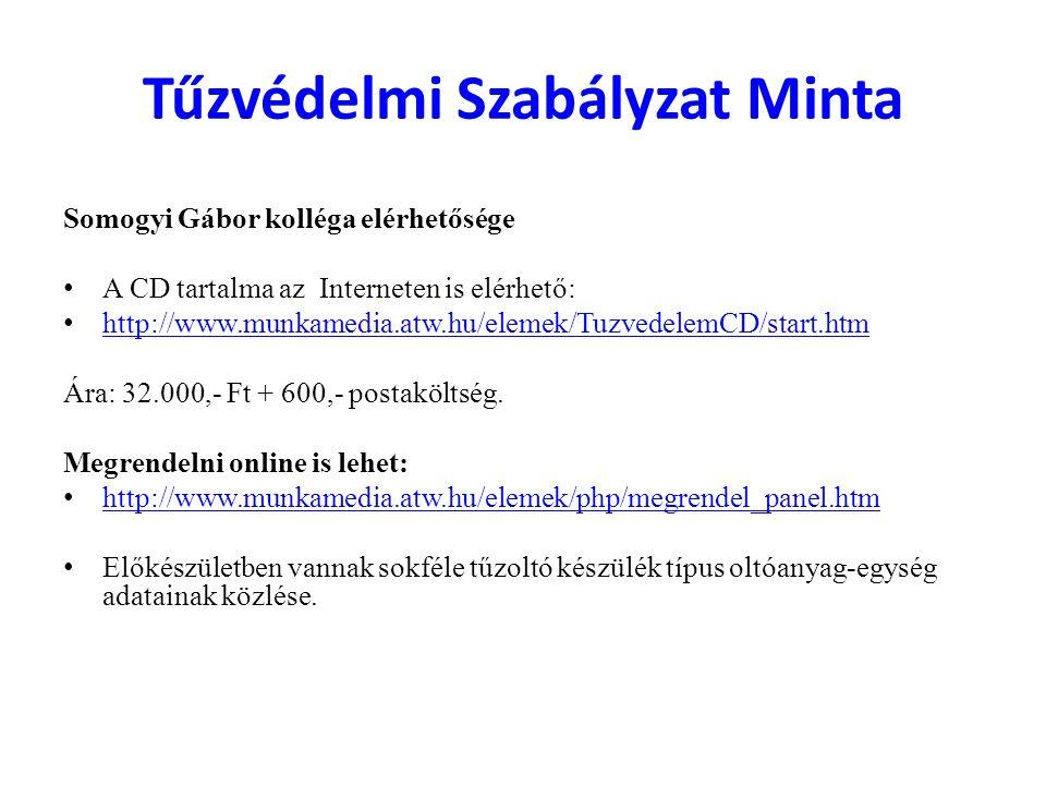 Tűzvédelmi Szabályzat Minta Somogyi Gábor kolléga elérhetősége A CD tartalma az Interneten is elérhető: http://www.munkamedia.atw.hu/elemek/TuzvedelemCD/start.htm Ára: 32.000,- Ft + 600,- postaköltség.