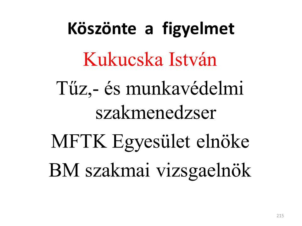 Köszönte a figyelmet Kukucska István Tűz,- és munkavédelmi szakmenedzser MFTK Egyesület elnöke BM szakmai vizsgaelnök 215