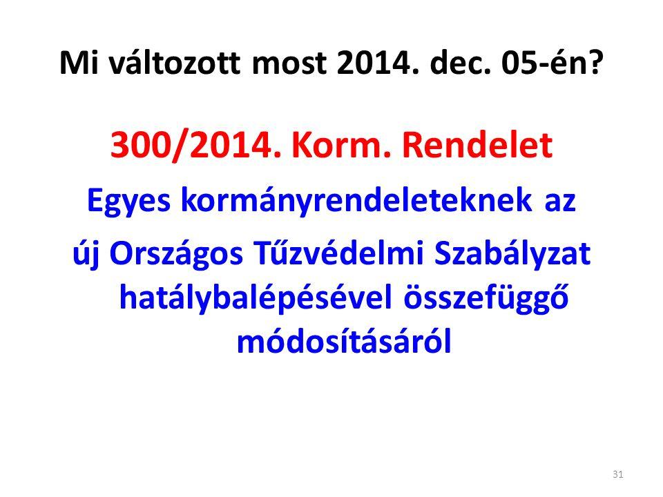 Mi változott most 2014. dec. 05-én. 300/2014. Korm.