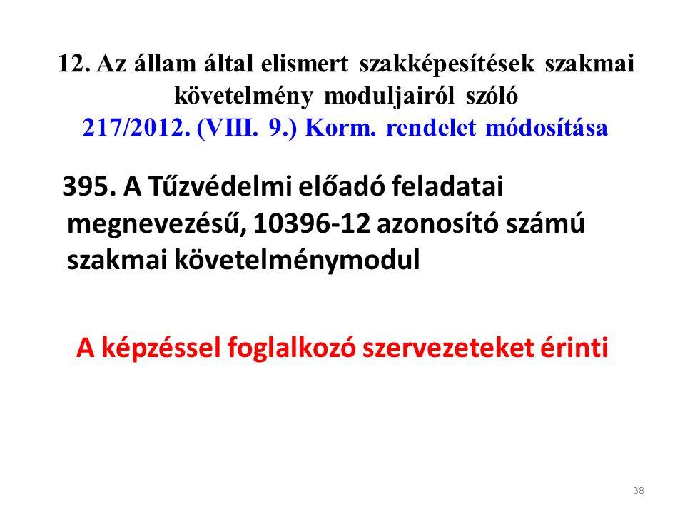 12. Az állam által elismert szakképesítések szakmai követelmény moduljairól szóló 217/2012. (VIII. 9.) Korm. rendelet módosítása 395. A Tűzvédelmi elő