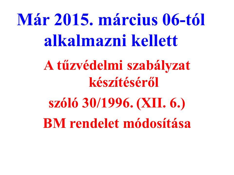 Már 2015. március 06-tól alkalmazni kellett A tűzvédelmi szabályzat készítéséről szóló 30/1996.