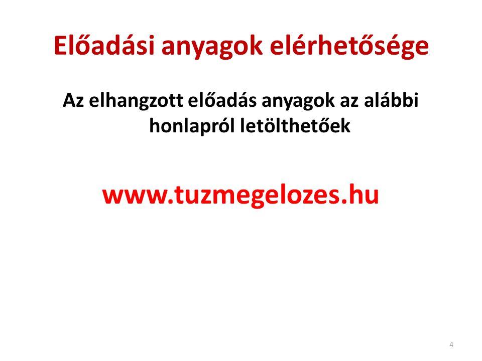 Előadási anyagok elérhetősége Az elhangzott előadás anyagok az alábbi honlapról letölthetőek www.tuzmegelozes.hu 4