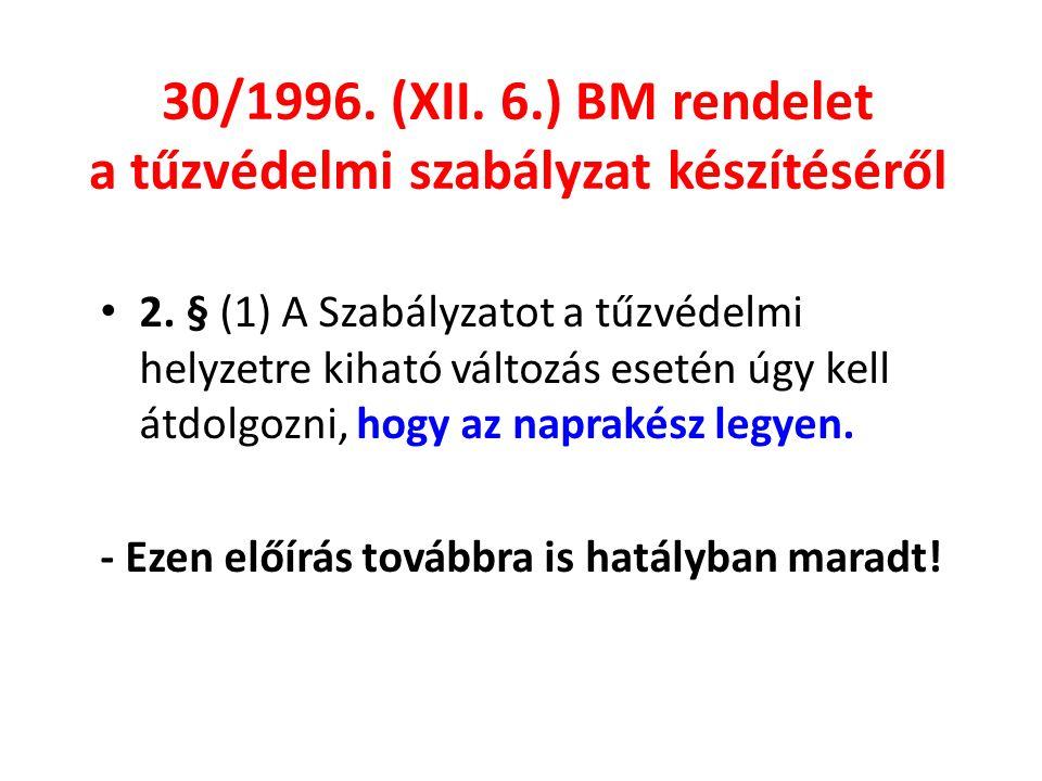 30/1996. (XII. 6.) BM rendelet a tűzvédelmi szabályzat készítéséről 2.