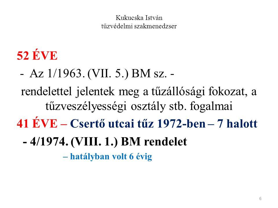 Kukucska István tűzvédelmi szakmenedzser 52 ÉVE - Az 1/1963. (VII. 5.) BM sz. - rendelettel jelentek meg a tűzállósági fokozat, a tűzveszélyességi osz
