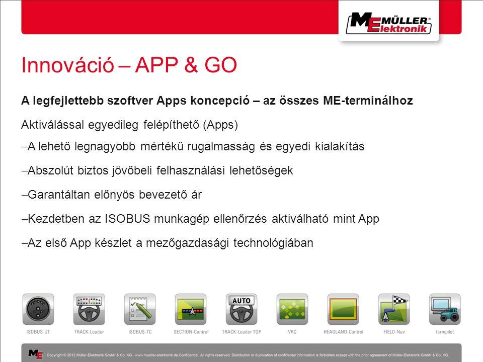 Innováció – APP & GO A legfejlettebb szoftver Apps koncepció – az összes ME-terminálhoz Aktiválással egyedileg felépíthető (Apps)  A lehető legnagyob