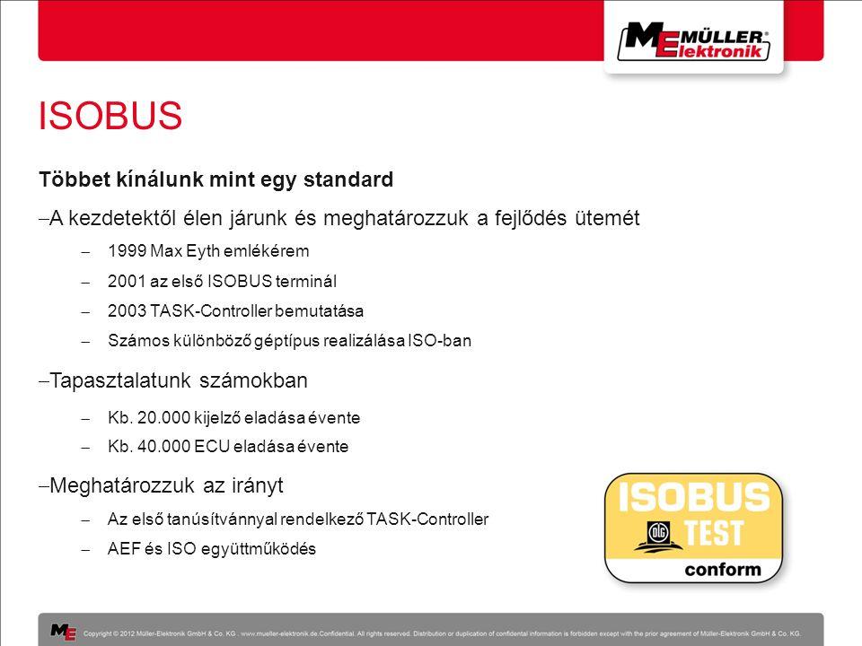 ISOBUS Többet kínálunk mint egy standard  A kezdetektől élen járunk és meghatározzuk a fejlődés ütemét  1999 Max Eyth emlékérem  2001 az első ISOBU