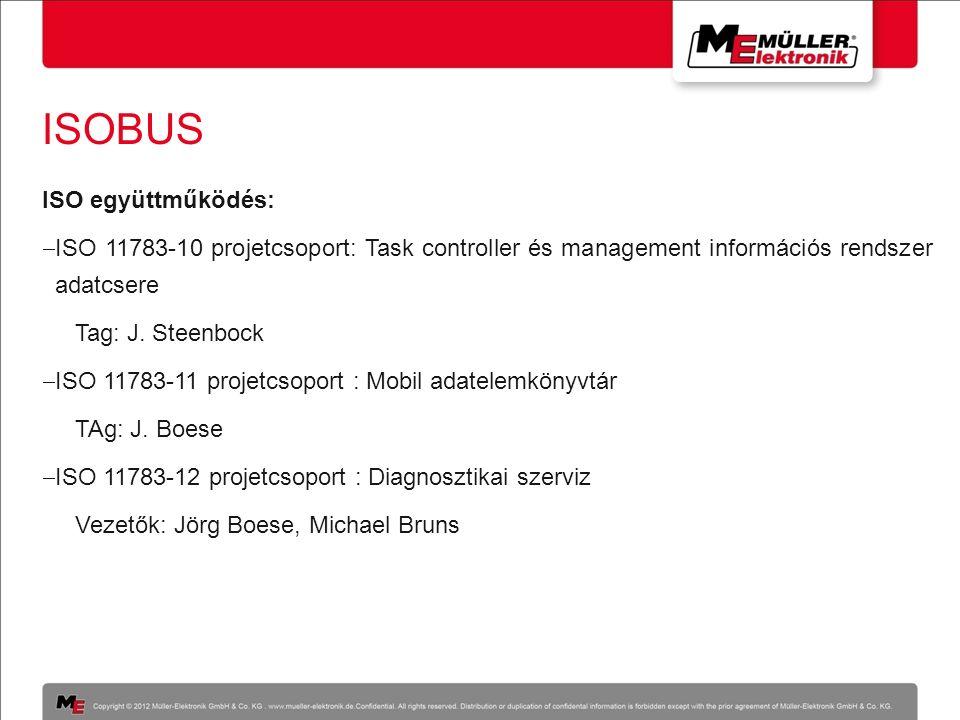 ISOBUS ISO együttműködés:  ISO 11783-10 projetcsoport: Task controller és management információs rendszer adatcsere Tag: J. Steenbock  ISO 11783-11