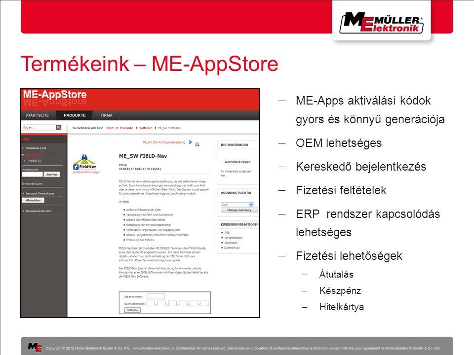 Termékeink – ME-AppStore  ME-Apps aktiválási kódok gyors és könnyű generációja  OEM lehetséges  Kereskedő bejelentkezés  Fizetési feltételek  ERP