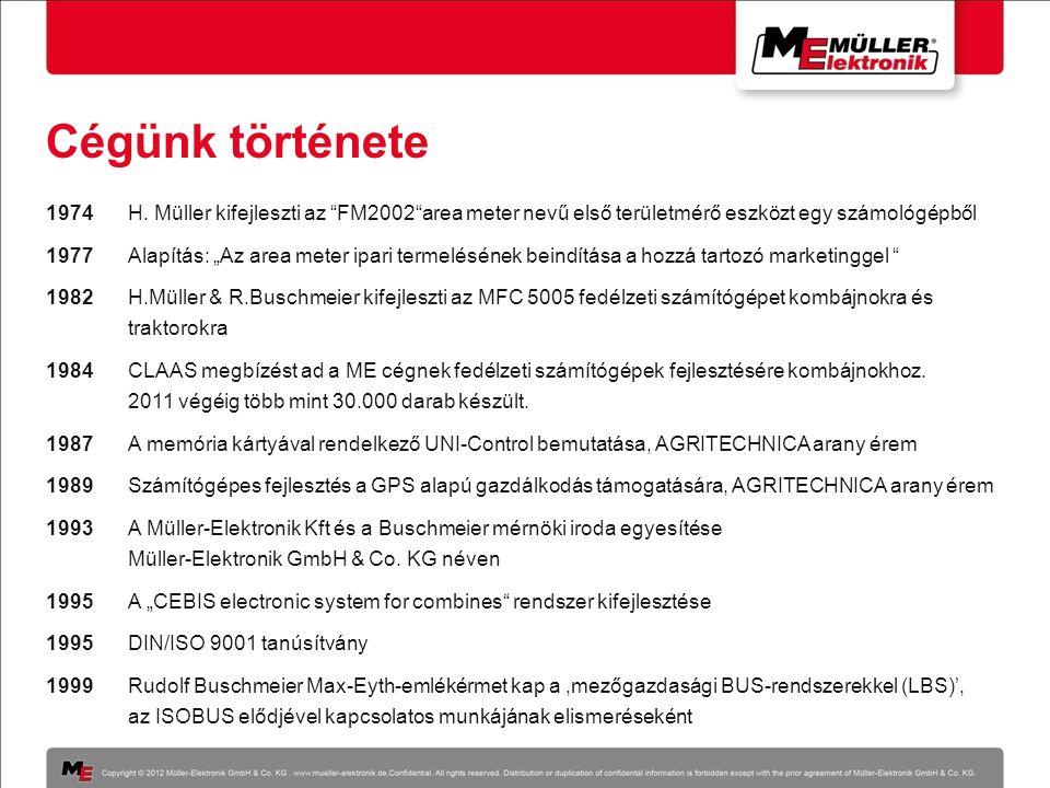 """Cégünk története 1974H. Müller kifejleszti az """"FM2002""""area meter nevű első területmérő eszközt egy számológépből 1977 Alapítás: """"Az area meter ipari t"""