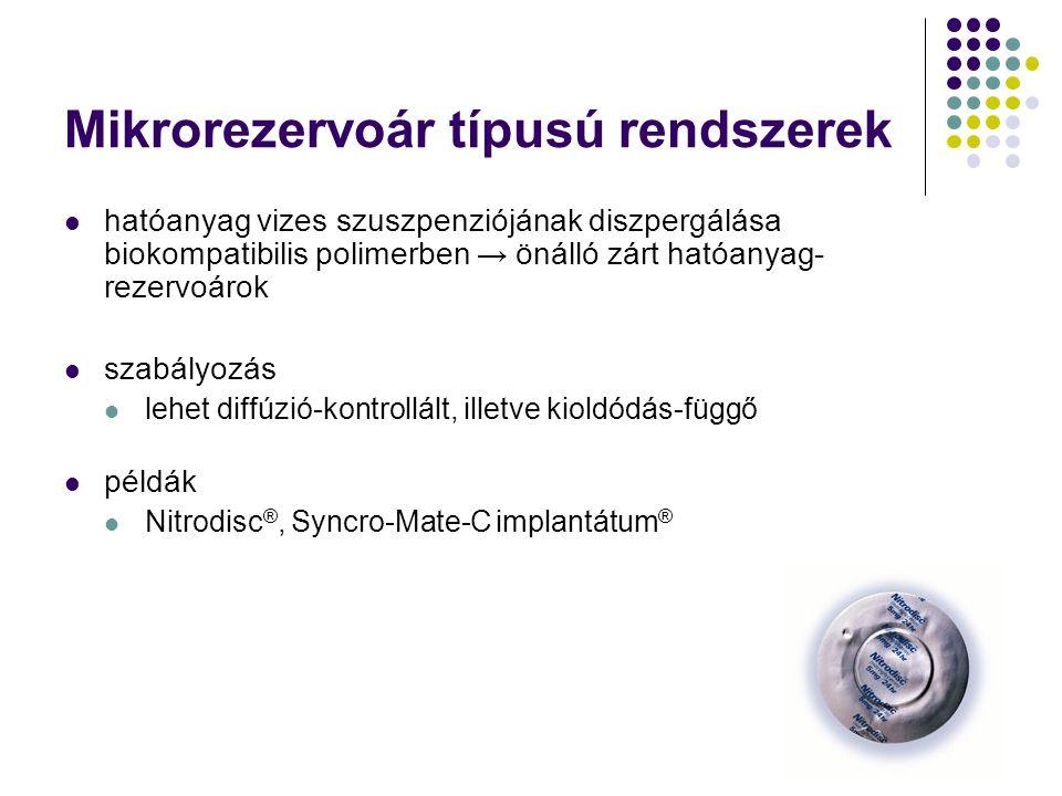 Mikrorezervoár típusú rendszerek hatóanyag vizes szuszpenziójának diszpergálása biokompatibilis polimerben → önálló zárt hatóanyag- rezervoárok szabályozás lehet diffúzió-kontrollált, illetve kioldódás-függő példák Nitrodisc ®, Syncro-Mate-C implantátum ®
