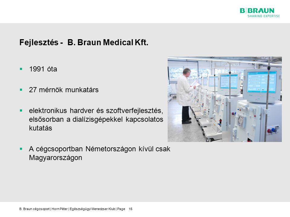 B.Braun cégcsoport | Horn Péter | Egészségügyi Menedzser Klub | Page15 Fejlesztés - B.