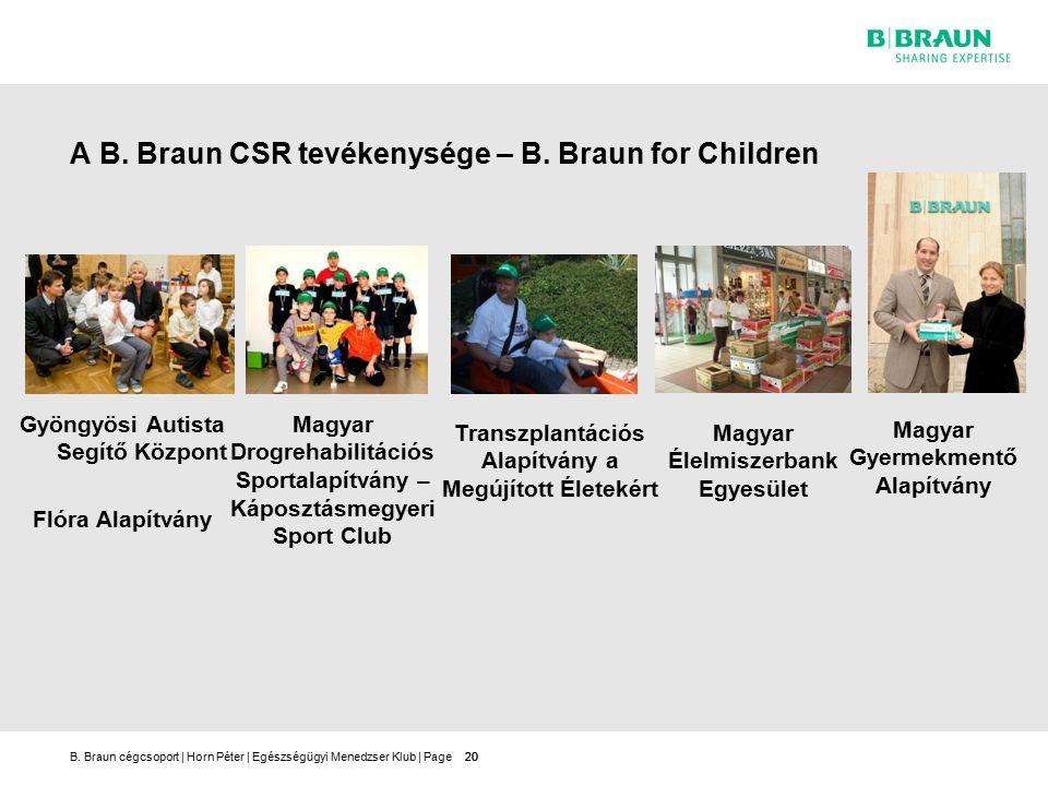 B.Braun cégcsoport | Horn Péter | Egészségügyi Menedzser Klub | Page20 A B.