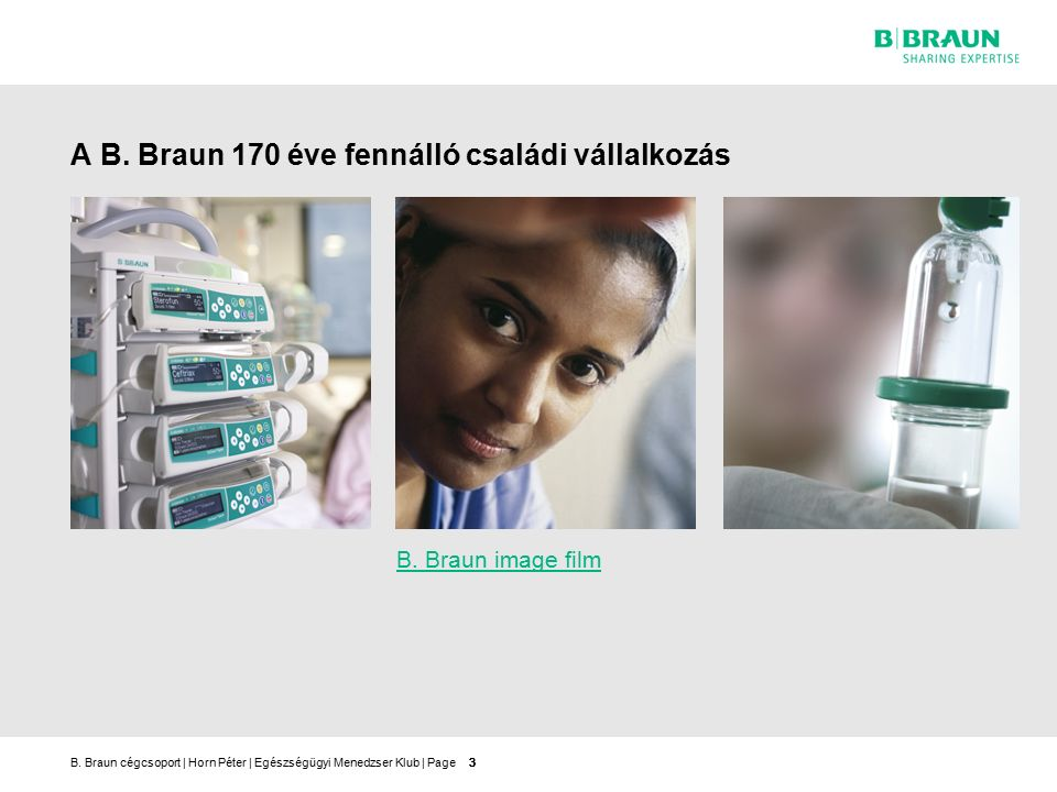 B.Braun cégcsoport   Horn Péter   Egészségügyi Menedzser Klub   Page A B.