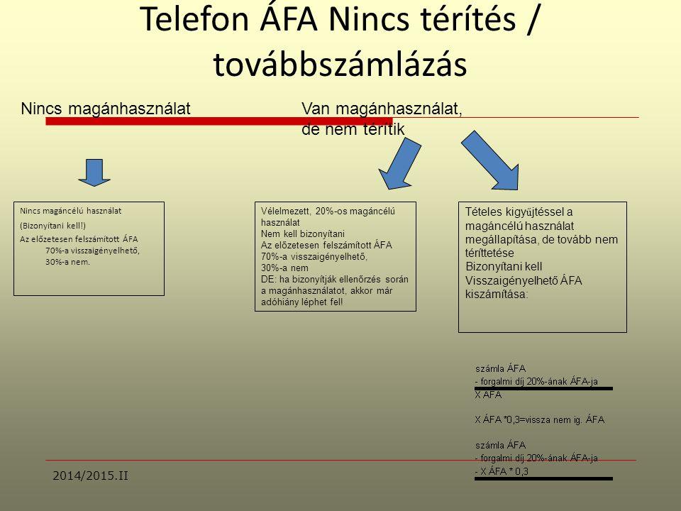 Telefon ÁFA Nincs térítés / továbbszámlázás Nincs magáncélú használat (Bizonyítani kell!) Az előzetesen felszámított ÁFA 70%-a visszaigényelhető, 30%