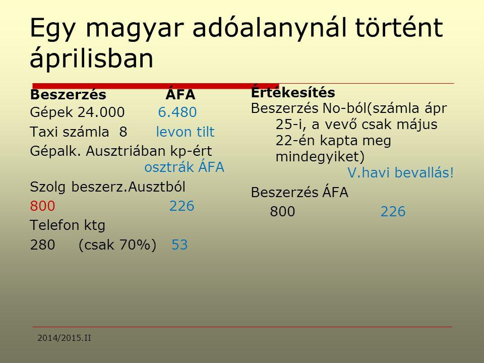 Egy magyar adóalanynál történt áprilisban Beszerzés ÁFA Gépek 24.000 6.480 Taxi számla 8 levon tilt Gépalk.