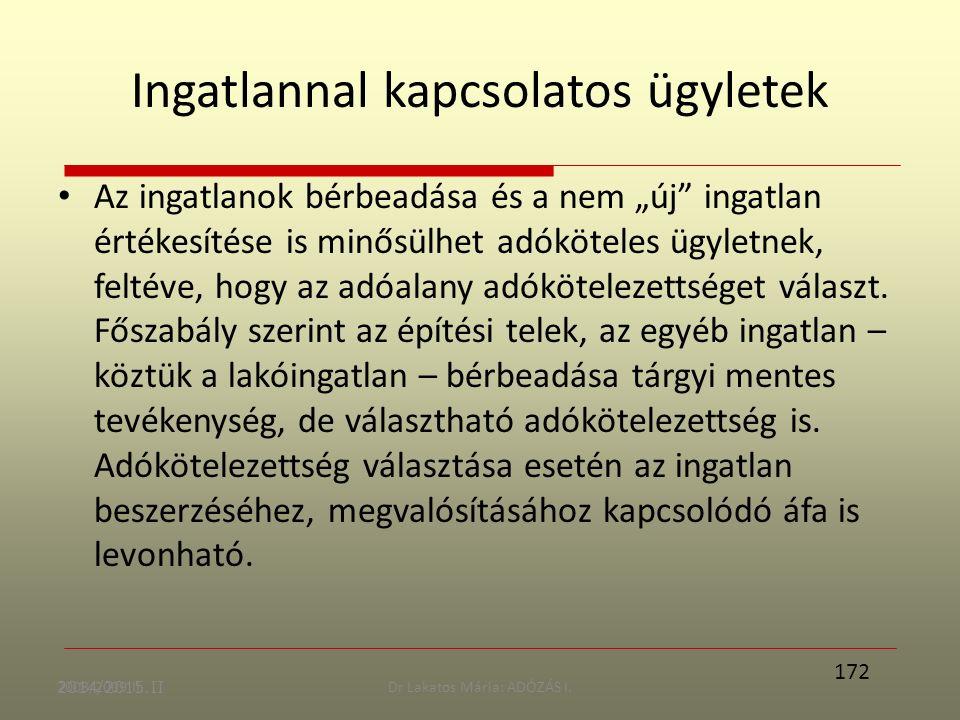 """2008/2009 II.Dr Lakatos Mária: ADÓZÁS I. Ingatlannal kapcsolatos ügyletek Az ingatlanok bérbeadása és a nem """"új"""" ingatlan értékesítése is minősülhet a"""