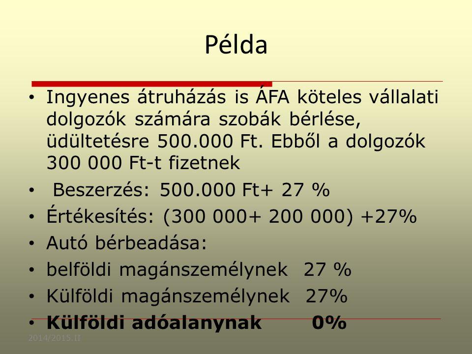 Példa Ingyenes átruházás is ÁFA köteles vállalati dolgozók számára szobák bérlése, üdültetésre 500.000 Ft.
