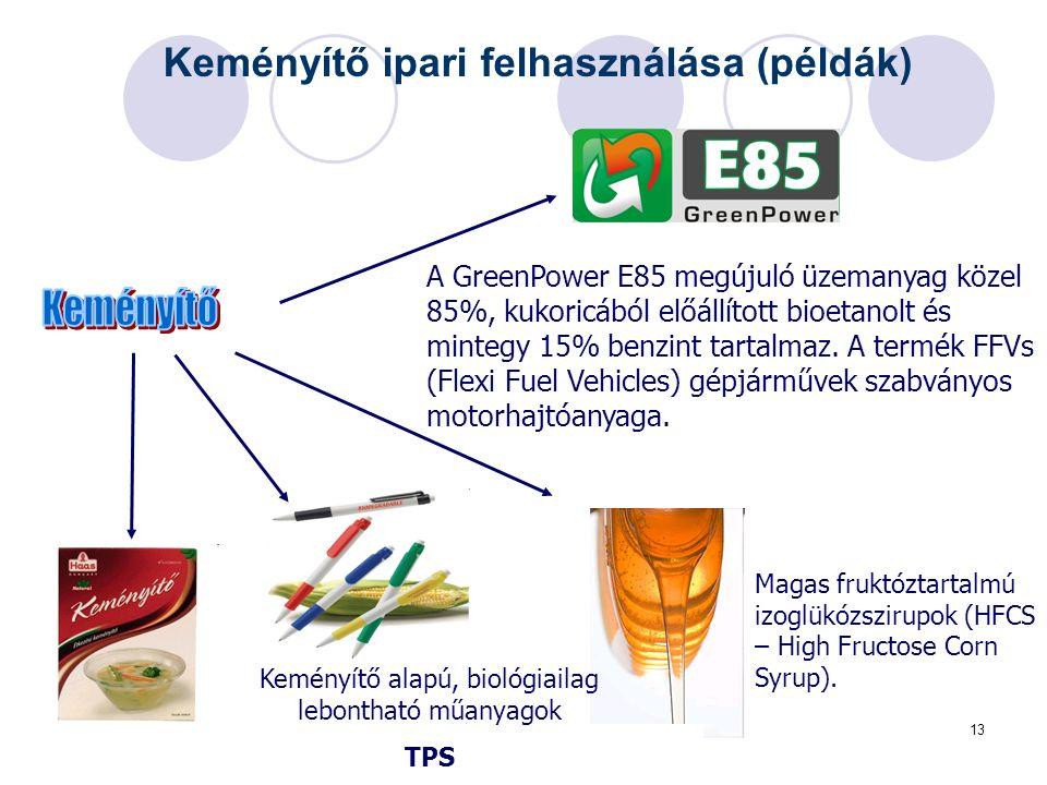 13 Keményítő ipari felhasználása (példák) Műszaki Kémiai Napok 2005, Veszprém A GreenPower E85 megújuló üzemanyag közel 85%, kukoricából előállított bioetanolt és mintegy 15% benzint tartalmaz.